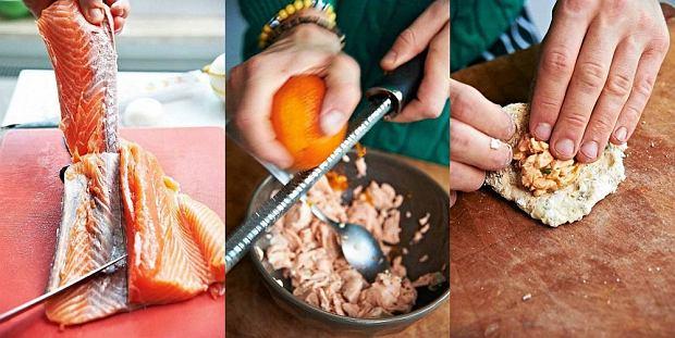 Pierogi z łososiem i sosem bazyliowym