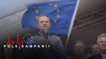 Wybory do Parlamentu Europejskiego. Przewodniczący Rady Europejskiej Donald Tusk podczas marszu 'Polska w Europie'