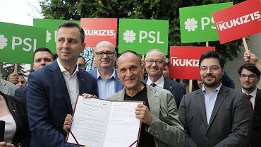 8.08.2019, Warszawa, Władysław Kosiniak-Kamysz i Paweł Kukiz na konferencji prasowej zapowiadającej wspólny start PSL i Kukiz'15 w wyborach parlamentarnych.