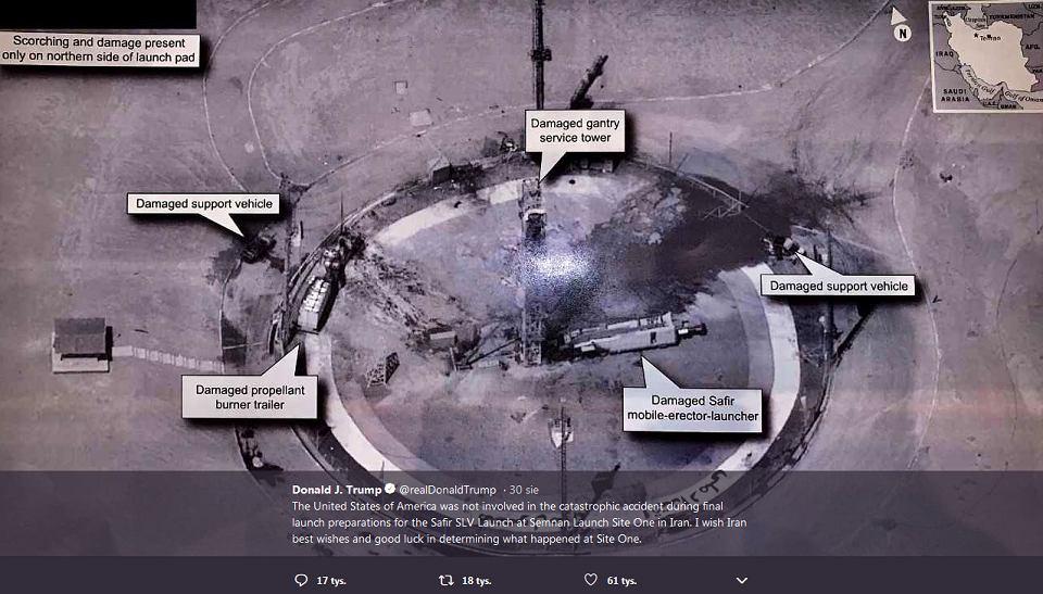 Ujawnione przez Trumpa zdjęcie satelitarne