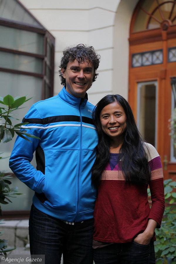 Scott Jurek legendarny ultramaratończyk z żoną Jenny podczas wizyty w Polsce