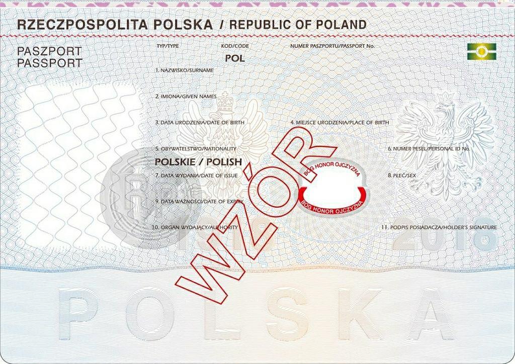 Paszport - wzór z 2018 roku. Widoczna dewiza 'Bóg, Honor, Ojczyzna'