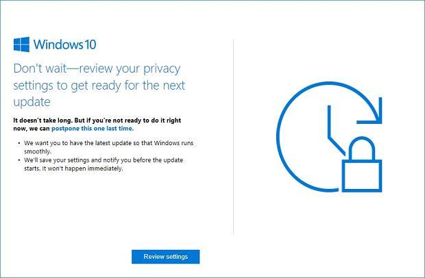 Nowy komunikat w Windows 10