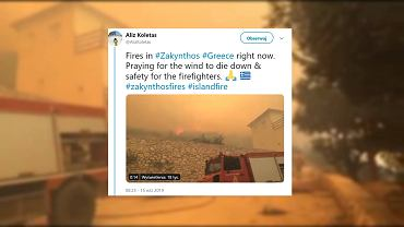 Pożary na Zakytnhos w Grecji