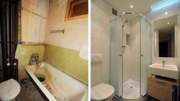 Wcześniej w łazience była dość duża wanna. Teraz zamiast wanny jest kabina prysznicowa, dzięki czemu udało się zmieścić jeszcze umywalkę z szafką. Przed remontem łazienka i kuchnia posiadały wspólne okno, które postanowiono zlikwidować.