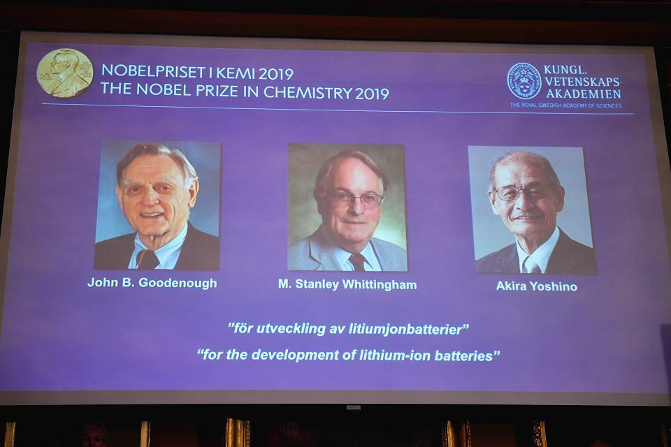 Nobel z chemii za wynalezienie baterii litowo-jonowych. Od lewej: John B. Goodenough, M. Stanley Whittingham i Akira Yoshino