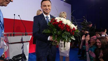 Andrzej Duda w swoim sztabie wyborczym po zwycięstwie w wyborach prezydenckich