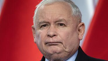 Prezes PiS Jarosław Kaczyński podczas konferencji w kwaterze głównej swojej partii. Warszawa, ul. Nowogrodzka, 13 lipca 2019