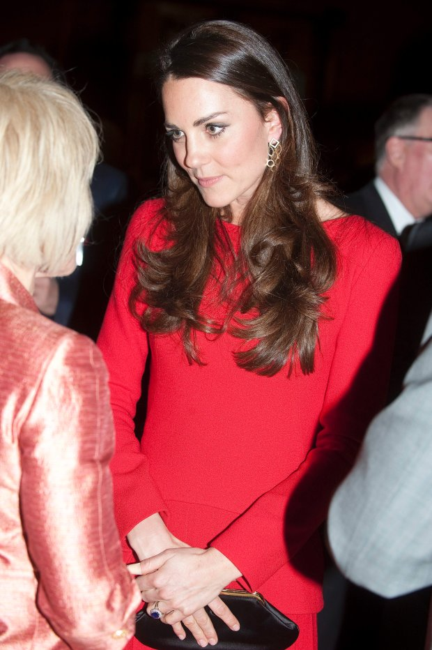 Kate, The Duchess of Cambridge talks to guests at a Reception for the Dramatic Arts, at Buckingham Palace, London, Monday, Feb. 17, 2014. (AP Photo/David Crump, Pool)