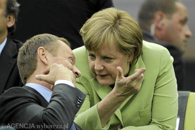 Donald Tusk i Angela Merkel na meczu Euro 2012 w Gdańsku, 22 czerwca 2012
