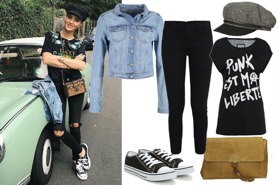 fot. Instagram @marina_official/ jeansowa kurtka i szary kaszkiet