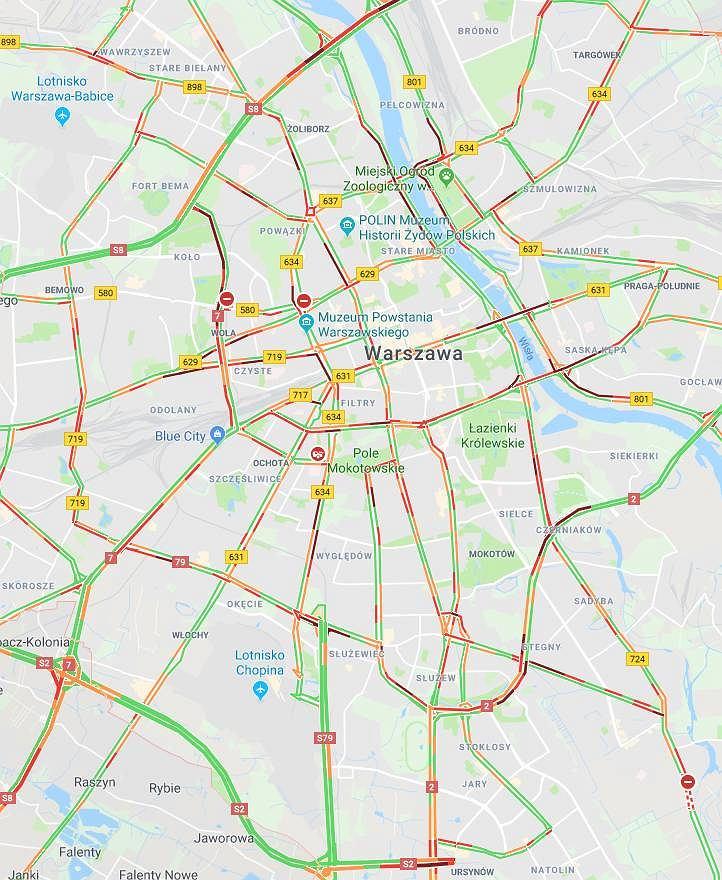 Korki w Warszawie. Mapa utrudnień drogowych.