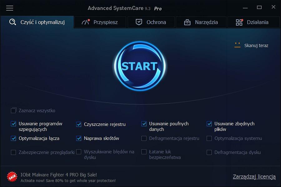 Advanced SystemCare - kadr z aplikacji