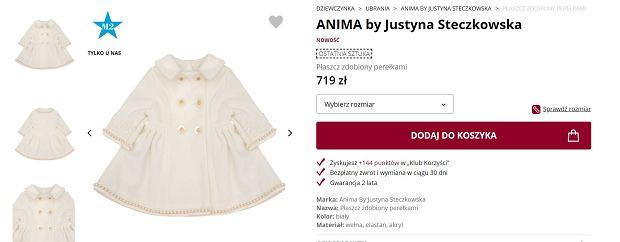 Płaszcz dla dwulatki, który zaprojektowała Justyna Steczkowska