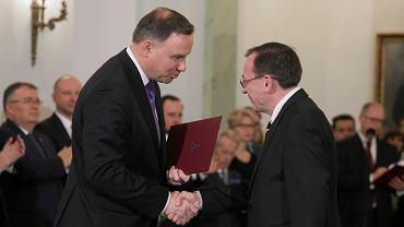 Prezydent Andrzej Duda oraz minister spraw wewnętrznych Mariusz Kamiński