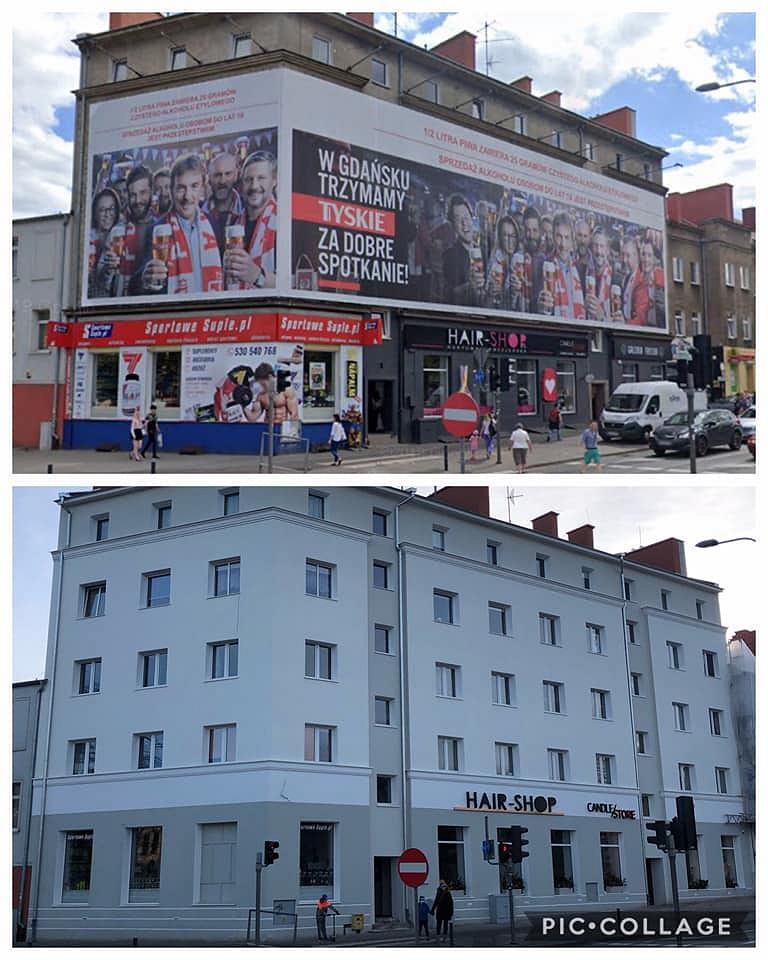 Budynek w Gdańsku po usunięciu reklam