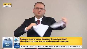 Sędzia Nowacki podarł projekt uchwał podpisane przez 31 sędziów