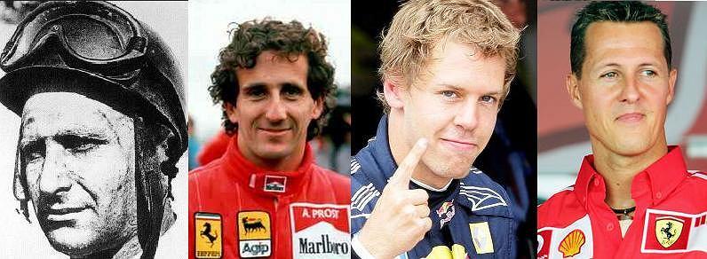 Fangio, Prost, Vettel, Schumacher