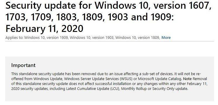 Komunikat Microsoft o wycofaniu aktualizacji