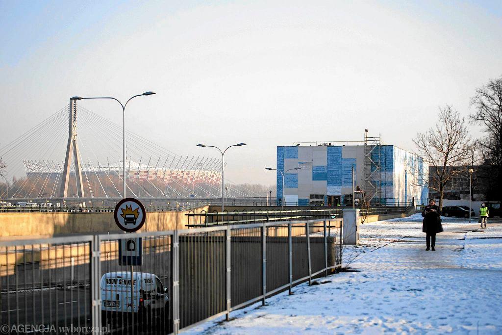 Budowa pawilonu Muzeum Sztuki Nowoczesnej nad Wisłą. Styczeń, 2017 rok. / ADAM STĘPIEŃ