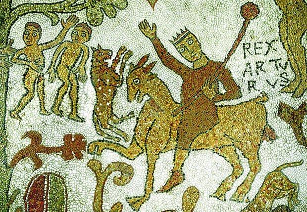 XII-wieczne przedstawienie mozaikowe króla Artura na podłodze katedry w Otranto w Apulii (na ilustracji) świadczy o tym, że dzieje legendarnego władcy były ważnym mitem dla Normanów okupujących od XI w. południe Włoch i Sycylię. Łacińskie imię Arturus łączono w średniowieczu z obecnością Rzymian w Brytanii (choć sławny król w różnych średniowiecznych rękopisach występuje też jako Arthwys, Armel bądź Arthmael). Nie da się jednak jednoznacznie rozstrzygnąć, czy historyczny pierwowzór Artura, wódz Brytów, który pod koniec V w. pokonał Sasów, miał istotnie pochodzenie rzymskie.