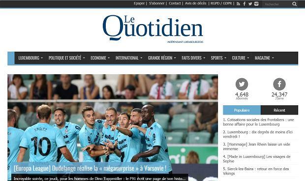 Luksemburskie media po meczu Legia Warszawa - Dudelange