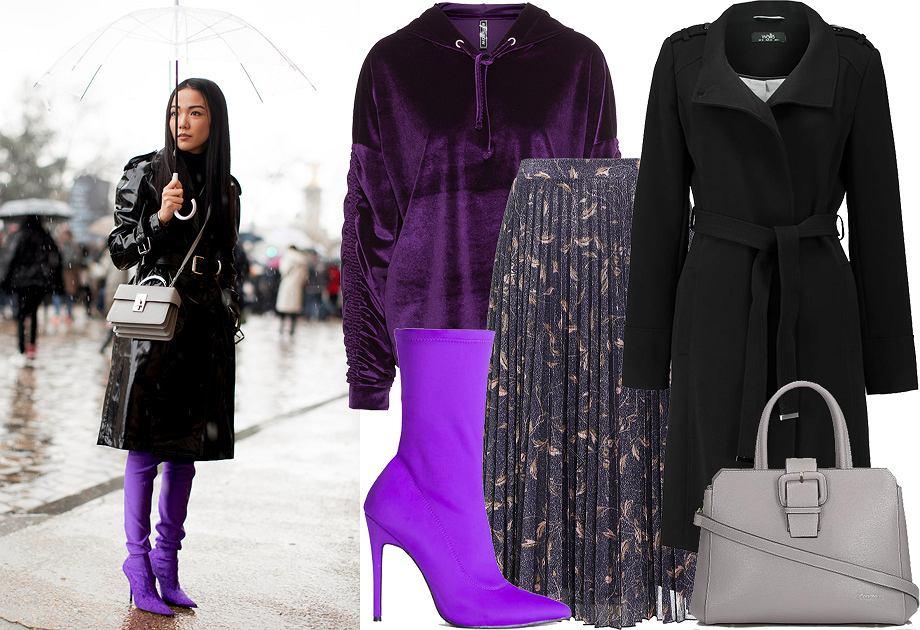 Fioletowe botki - stylizacja Ultra Violet