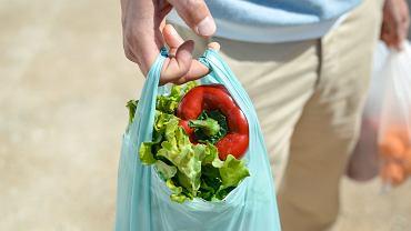 Warzywa w plastikowej siatce.