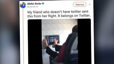 Pasażer samolotu stopami przełączał sobie kanały na ekranie dotykowym. Ludzie uznali to za obrzydliwe