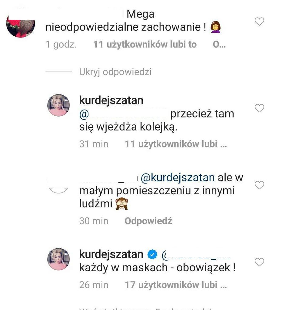 Komentarze na Instagramie Barbary Kurdej-Szatan