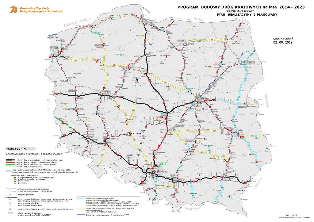 Aktualny stan budowy dróg w Polsce