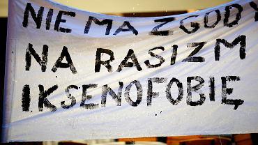 Łódź, Piotrkowska. Protest przeciwko rasizmowi