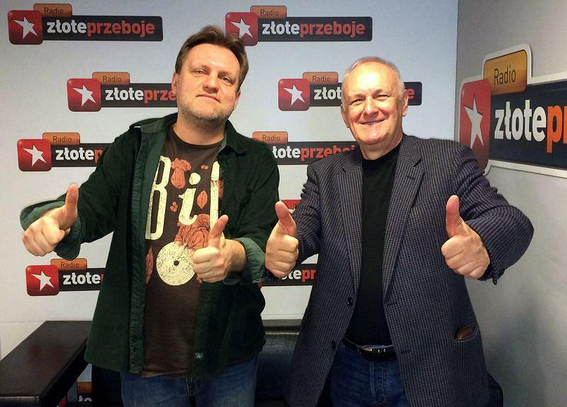 Kuba Mędrzycki i Jacek Cygan w studiu Radia Złote Przeboje