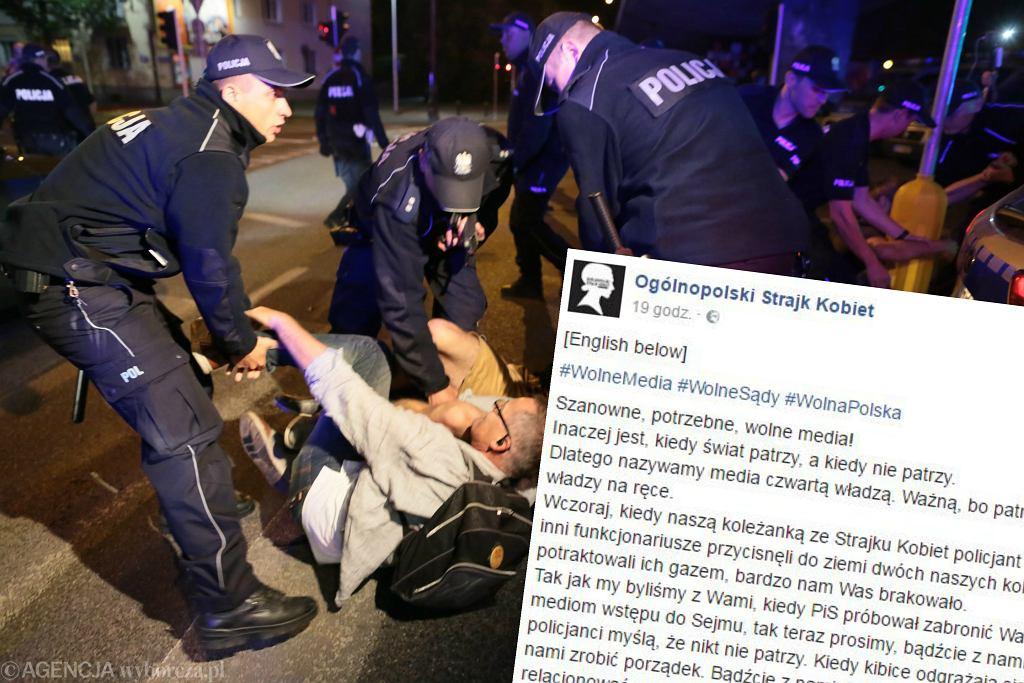 Protest pod Sejmem, wpis Ogólnopolskiego Strajku Kobiet