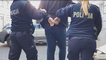 Zatrzymanie sprawcy przemocy domowej przez policję (zdjęcie ilustracyjne)