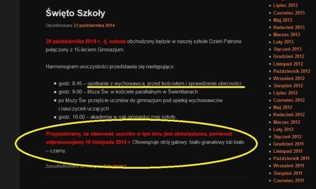 Ogłoszenie na stronie internetowej szkoły
