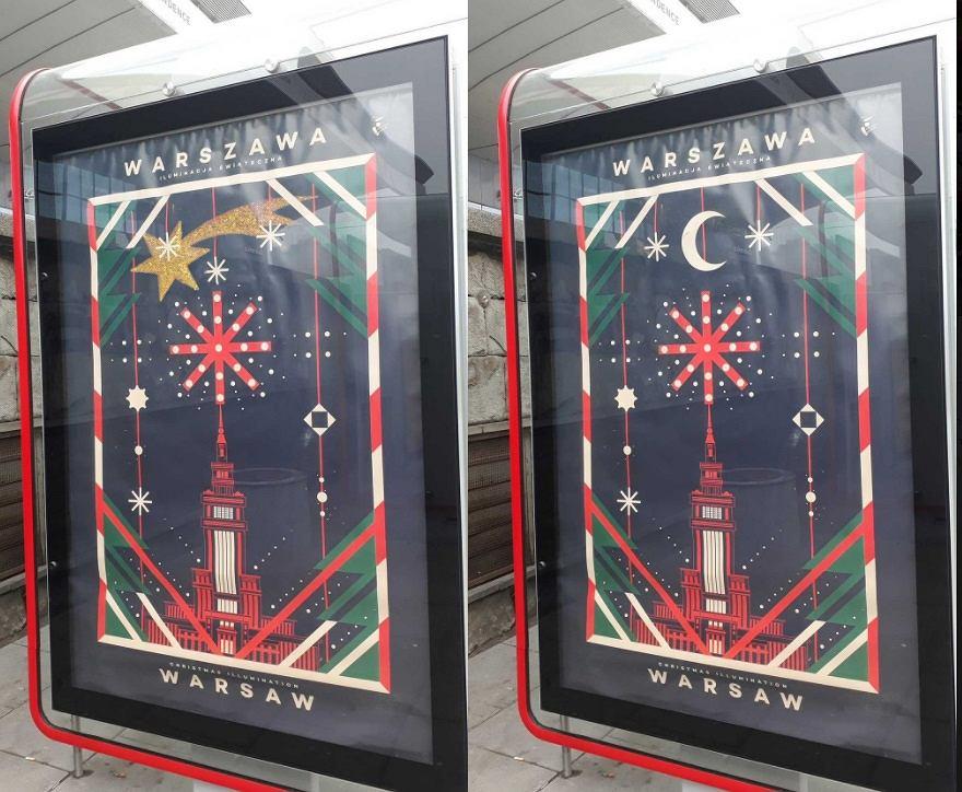 Świąteczne plakaty na ulicach Warszawy