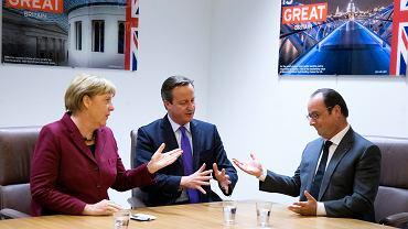 Angela Merkel potwierdziła, że jej celem jest wspólnotowy system azylowy w UE, ale większość przywódców chciała się skupić nie na dzieleniu, lecz na powstrzymywaniu uchodźców. Na zdjęciu: kanclerz Niemiec podczas wczorajszego spotkania z brytyjskim premierem Davidem Cameronem i prezydentem Francji François Hollande'em