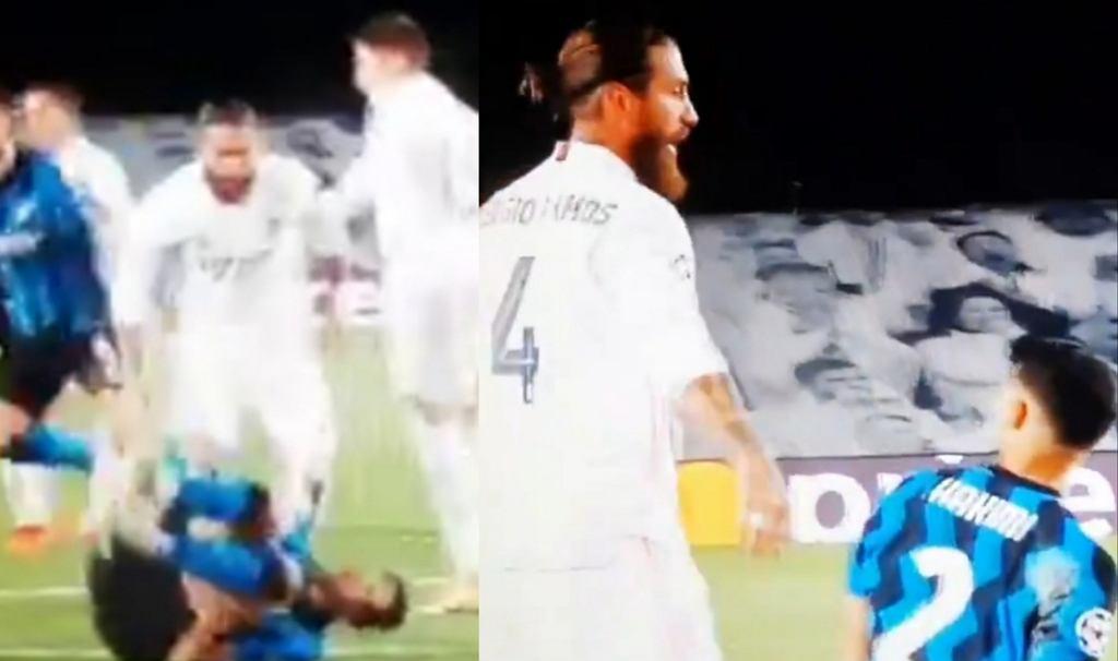 Starcie Hakimiego i Ramosa w czasie meczu Ligi Mistrzów