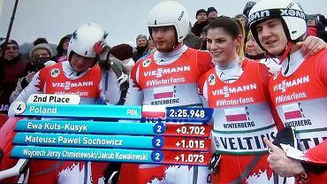 Polska sztafeta saneczkarska siódma na mistrzostwach świata. Druga z prawej Ewa Kuls-Kusyk