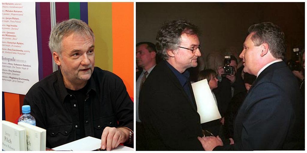 Z lewej Jerzy Pilch na Targach Książki 2009 w Krakowie. Z prawej z prezydentem Aleksandrem Kwaśniewskim podczas wręczenia Nagrody Nike 2001 (fot. Mgieuka / Wikimedia.org / CC BY 3.0 / Kancelaria Prezydenta RP / Wikimedia.org / GFDL-1.2)