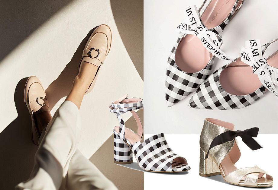 L37 - buty wiosna-lato: w kratkę i złote