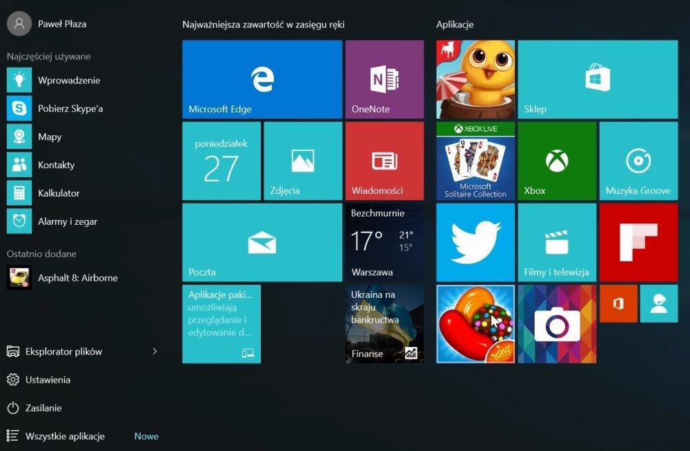 Całkiem nowe menu Start w Windows 10