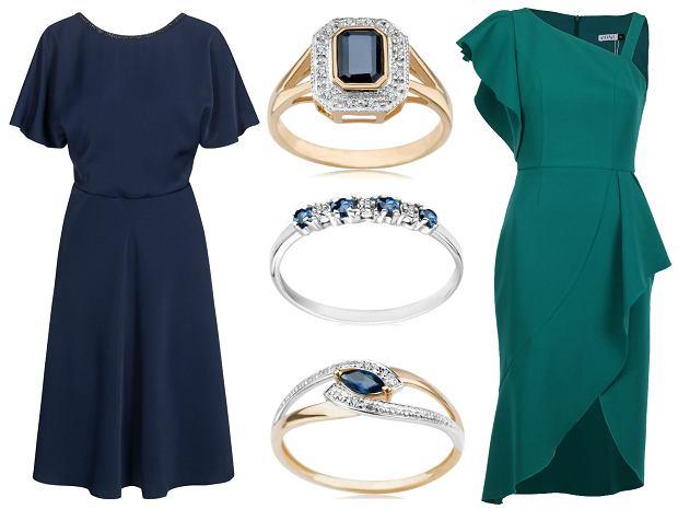 Sukienka granatowa Quisque, sukienka zielona Vissavi, pierścioneki z szafiremYES