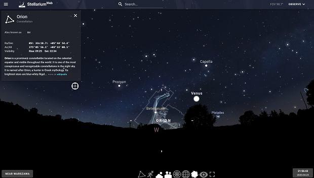W tej części niebo powinniśmy szukać Starlinków