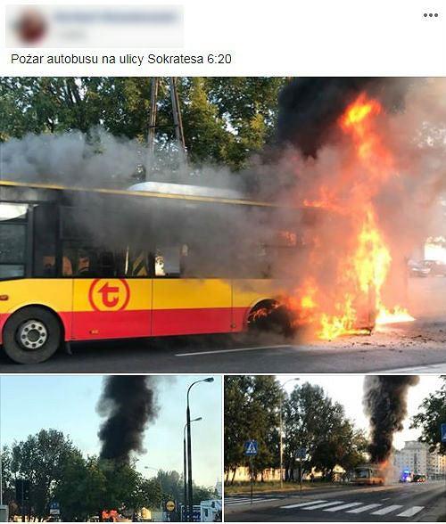 Autobus spłonął na Bielanach