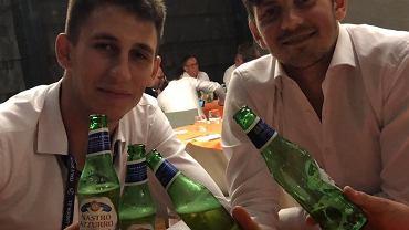 Kamil Grabara i Dawid Kownacki po meczu Polska - Hiszpania