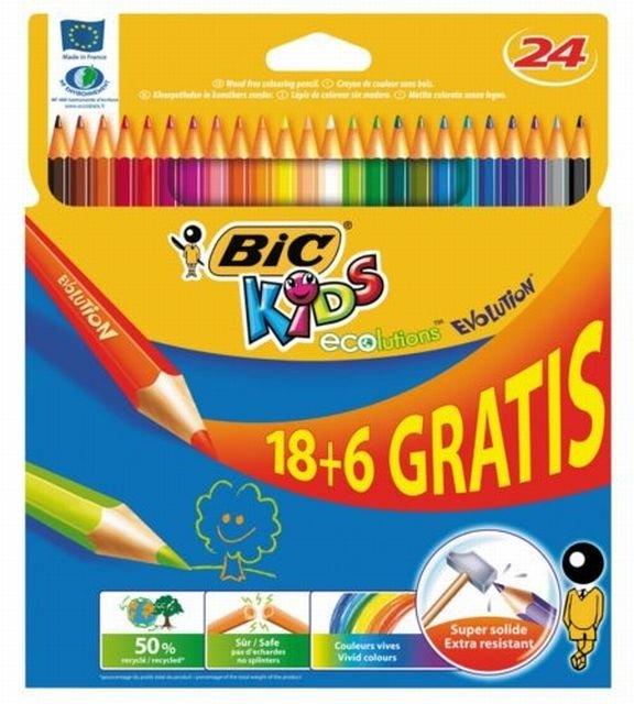 Kredki Bic Kids Evolution, 24 kolory, cena: 19,99 zł (TEsco) / fot. mat. promocyjne