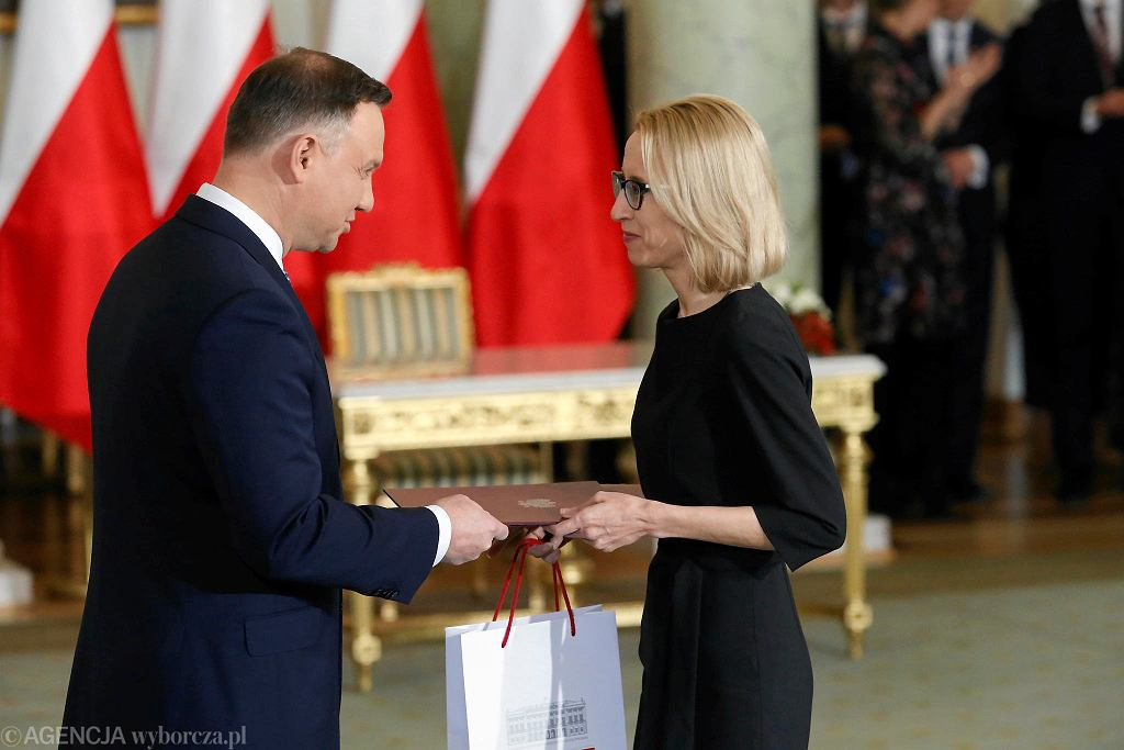 Prezydent Andrzej Duda i minister finansow Teresa Czerwińska. Rekonstrukcja rządu PiS. Warszawa, Pałac Prezydencki, 9 stycznia 2018
