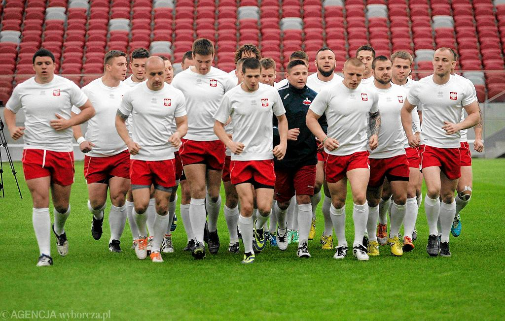 Pokazowy trening rugbistów na Stadionie Narodowym